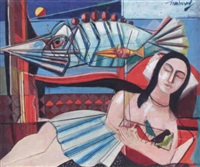 woman with birds by nahum tschacbasov