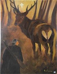 paysage ardennais avec chasseur et cerfs en forêt by léon louis dardenne