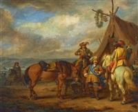musketiere im feldlager by carel van falens
