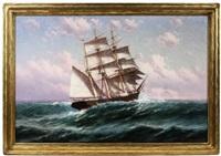 stern view, bark underway, high seas by theodore victor carl valenkamph