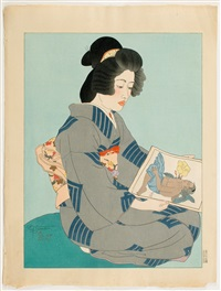 the geisha, kiyoka (untitled) by paul jacoulet