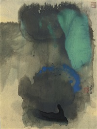 spring mountain after rain (2 works) by zhang daqian