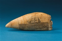 scrimshaw depicting a sperm whaling panorama by william lewis roderick