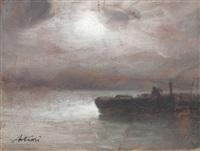 notturno con pescatore (+ paesaggio di campagna con figure, lrgr; 2 works) by antonio asturi