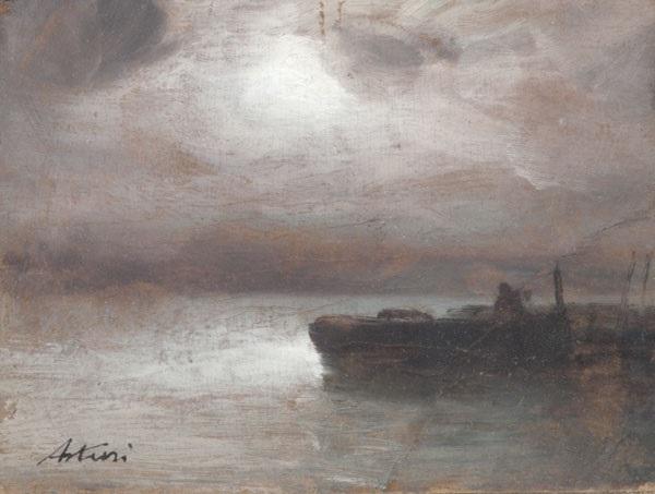 notturno con pescatore paesaggio di campagna con figure lrgr 2 works by antonio asturi