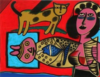 woman, cat and fish by corneille