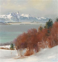 winterlicher thunersee mit dem stockhorn by marcus jacobi
