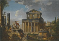 capriccio of classical ruins, including the temple of antonio and faustina by giovanni paolo panini