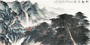 松鹤飞瀑 by li xiongcai