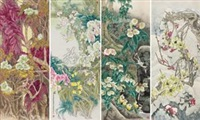 四季花卉 (the four seasons of flowers four screen) (in 4 parts) by liu yitao