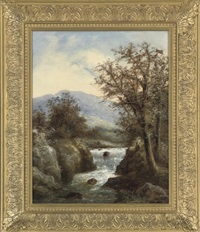fishing in a rocky river by r. marshall