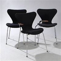 syveren dining chairs (model 3107 and 3207) (set of 3) by arne jacobsen