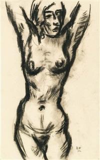 weiblicher akt mit erhobenen armen (tänzerin) by rudolf wacker