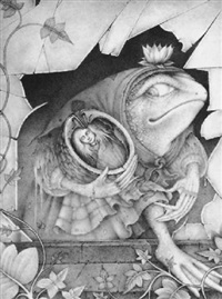 a female toad wearing a shawl and skirt carrying the sleeping thumbelina in a walnut shell through a broken window by wayne anderson