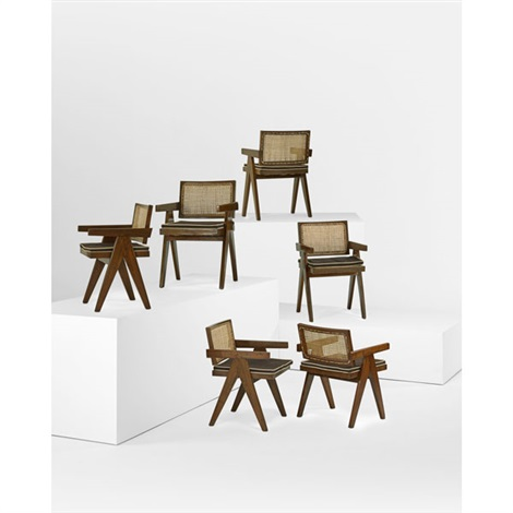 v leg armchairs from the chandigarh administrative buildings set of 6 by pierre jeanneret