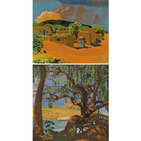 ii 36-125; live oak landa park (2 works) by gustave baumann