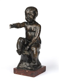 a bronze figure of a young boy by percy herbert portsmouth