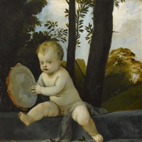 kleiner putto mit tambourin in waldlandschaft by rudolf konopa
