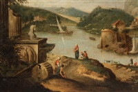 capriccio of river view with classical ruins, island castle and mountaintop fortress by anonymous (18)