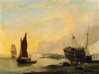 fischerboote an der französischen nordseeküste by federico de valenzano
