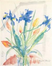 blütenstrauß mit iris und tulpen vor angedeutetem fenster by hans andré ficus