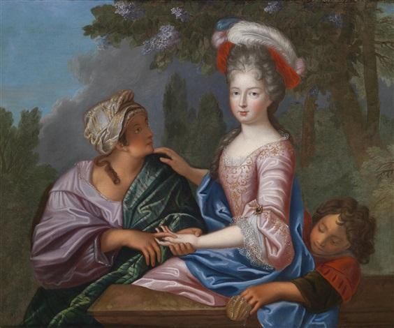 eine prinzessin traditionell identifiziert als marie adélaide von savoyen duchesse de bourgogne wird von einer wahrsagerin beraubt by pierre gobert