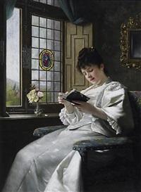 lesende junge frau im weißen seidenkleid am fenster mit blick in den schloßgarten by ernst anders