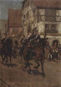 preussische ulanen reiten durch ein dorf (in der pfalz?) by carl röchling