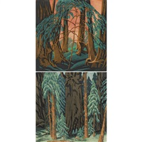 sequoia forest; 2-55 1960 (2 works) by gustave baumann