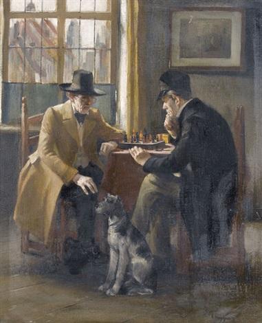 zwei herren beim schachspiel by leo küppers