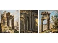 satz von drei römischen ruinenansichten by anonymous-italian