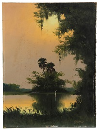 florida bayou with crane by harold newton