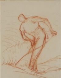 2 zeichnungen: drei mäherinnen; mäher by carl august liner