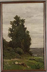 landskap med grönskande träd by léon louis dardenne