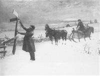 a couple waits in a horse-drawn sleigh while a gentleman clears a snow-covered road sign by ephram frank lincoln
