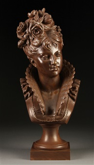 a bust of a young woman with flowers in her hair by a. rolle