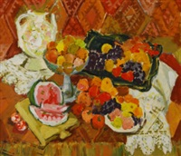 still life of fruit in a comport, watermelon, grapes, apples and oranges on table by petr ivanovich petrovichev