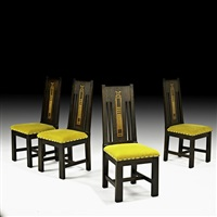 inlaid dining chairs (4 works) by shop of the crafters