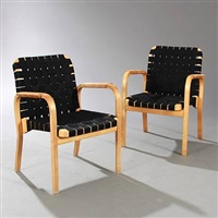 armchairs (model 45) (pair) by alvar aalto