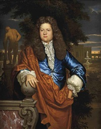 portrait of a gentleman, in a blue velvet jacket with an ochre wrap, standing in a park landscape with the statue of the farnese hercules beyond by gerard hoet the elder