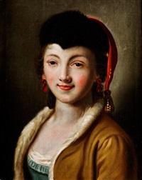 portrait einer jungen frau mit fellkappe by pietro antonio rotari