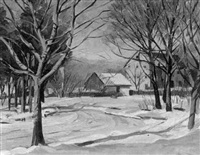 winter landscape with farmhouse and snow covered road by wilmer richter