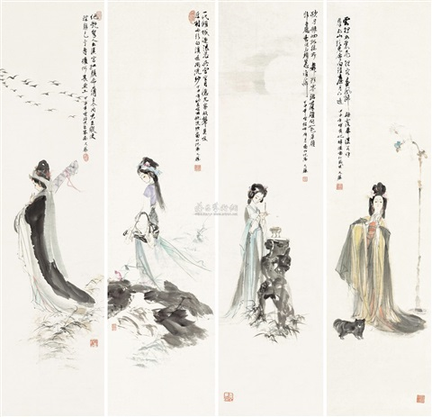 四美图 (四帧) figure 4 works by wang yisheng