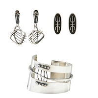 cuff bracelet and two pairs of earrings (2 works) by ed wiener