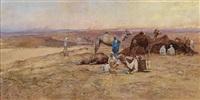 beduinenlager in der wüste bei abendlicht by tadeusz ajdukiewicz