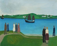 scenery from limfjorden with persons and ship by knud kristensen