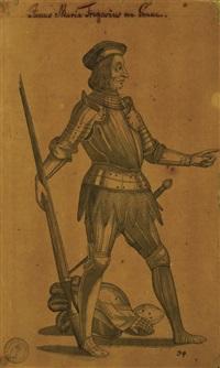 coppia di disegni per armamentarirum heroicum (o libro degli eroi di ambras): janus maria fregosius von genua (giano maria fregoso) - alphonsus ... herzog zu ferrara (alfonso ii d'este) by giovanni battista fontana