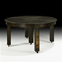 inlaid five-legged dining table by shop of the crafters