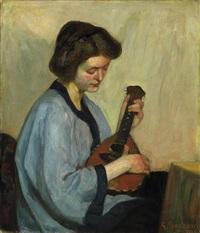 die mußestunde. junge dame im kimono, eine mandoline spielend by gottfried albert maria bachem
