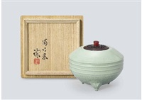 celadon incense burner with top shaped by miyanohara ken